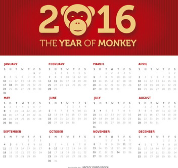 2016 simple and clean calendar - Free vector #274493