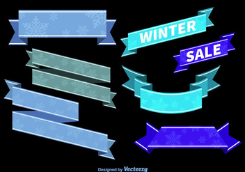 Blue winter ribbons - vector gratuit #274583