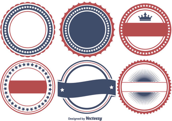 Colorful Patriotic Badge Shape Set - Free vector #274673