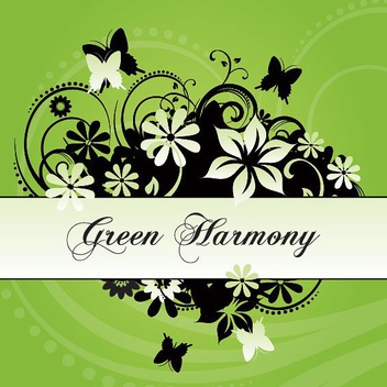 Harmony Flower Swirls Card - vector gratuit #274813