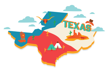 Texas Map Vector - бесплатный vector #275183