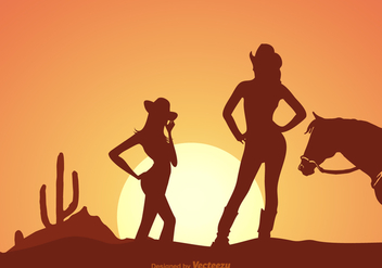 Free Cowgirls Silhouette At Sunset Vector - vector gratuit #275273