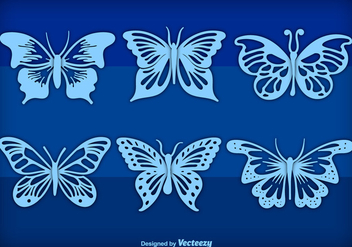 Blue hand drawn butterflies - vector gratuit #275283