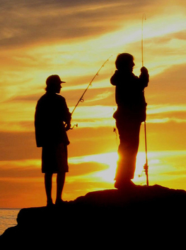 Fishing at Sunset - Pacific Ocean , California - Kostenloses image #277313
