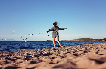 Girl chasing seagulls on beach - image #282423 gratis