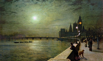 John Atkinson Grimshaw - Reflections on the Thames, Westminster - Free image #283643