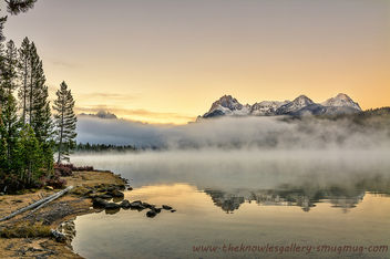 Redfish Lake Idaho morning fog - бесплатный image #290153