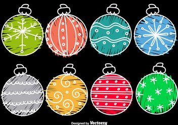 Hand drawn cartoon christmas balls - vector gratuit #297723