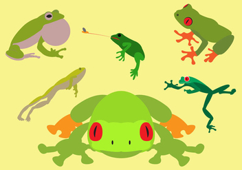 Collection of Green Tree Frogs in Vector - бесплатный vector #297843