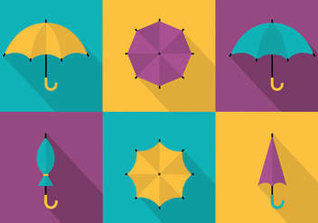 Free Set of Colorful Umbrellas Vector Background - Kostenloses vector #297883