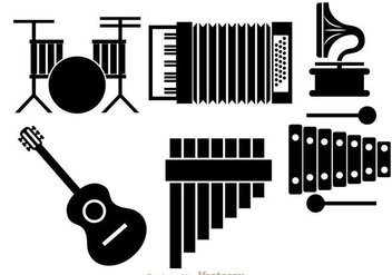 Musical Instrument Black Icons - vector #298013 gratis