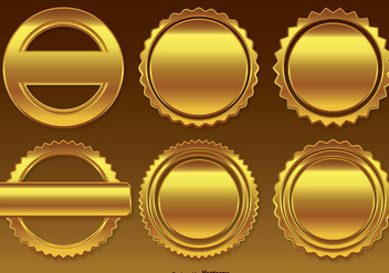 Golden Badge / Labels Set - Free vector #301493