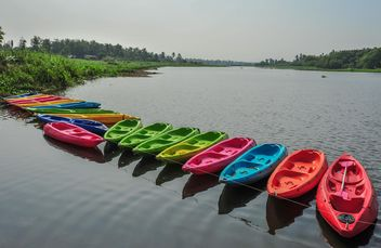 Colorful kayaks docked - Free image #301653