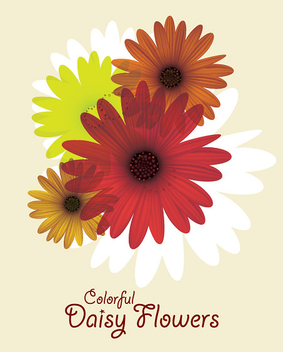 Colorful Daisy Flower Card - vector gratuit #301923