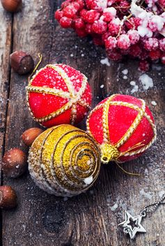 Christmas decorations on wooden background - бесплатный image #302073