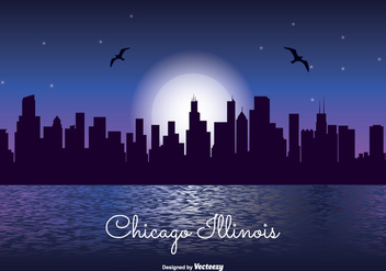Chicago Night Skyline Illustration - бесплатный vector #302453