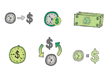 Free Time is Money Vector Series - vector gratuit #302583