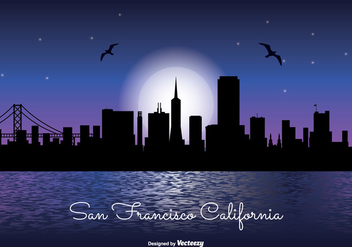 San Francisco Night Skyline Illustration - vector gratuit #302653