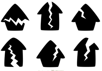 Cracked House Black Icons - бесплатный vector #303143