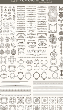 170 Ornaments Mega Pack: Dividers, frames, corners, borders and more - vector #303183 gratis