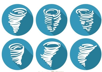Tornado Long Shadow Icons - vector #303383 gratis
