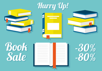 Free Set of Books in Flat Design Vector Illustration - бесплатный vector #303463