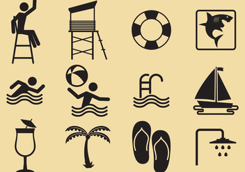 Beach And Pool Vector Icons - Free vector #303613
