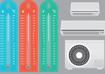 Air Conditioner With Thermometer Vectors - vector gratuit #303623