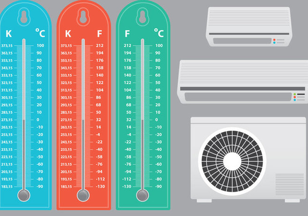 Air Conditioner With Thermometer Vectors - Free vector #303623