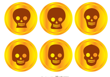 Gold Coin Skull Vectors - бесплатный vector #303663