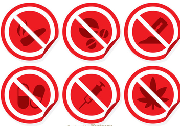 Red And White No Drugs Sign - vector gratuit #304243