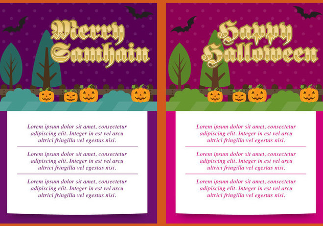 Samhain And Halloween Cards - Kostenloses vector #304413