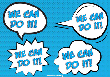 Comic Style '' We Can Do It'' Labels - vector gratuit #304423
