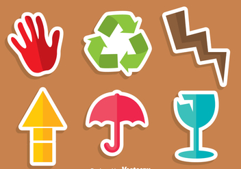 Fragile Colorful Sticker - vector #305013 gratis