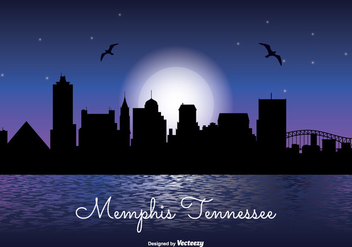 Memphis Tennesse Night Skyline - бесплатный vector #305053