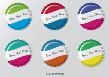 Colorful Bottle Cap Set - vector gratuit #305063