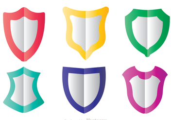 Colorful Shield Shape Flat Icons - vector gratuit #305193