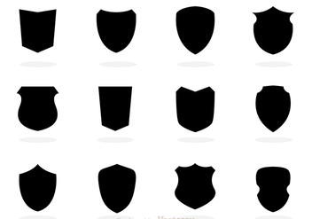 Black Shield Silhouette Vectors - Free vector #305233