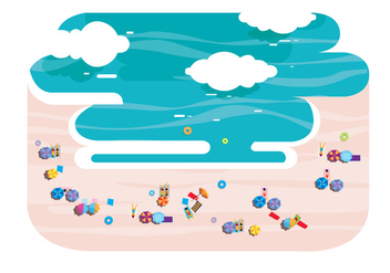 People From Above on Beach Vector - Free vector #305423