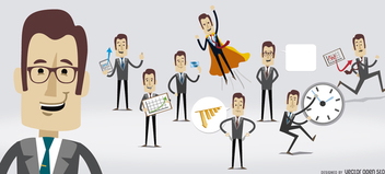 Businessman character several poses - vector gratuit #305643