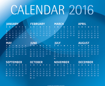 Blue 2016 calendar template - Free vector #305653