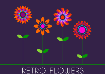 Retro 70s Flowers - Free vector #305773