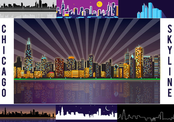 Free Chicago Skyline Night Vector - бесплатный vector #305783
