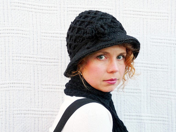 Hand Crochet Black Hat - бесплатный image #314103