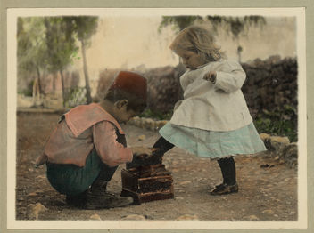 Vintage Picture of Two Children, A Cute Boy giving a Shoe Shine to a Beautiful Little Blonde Girl - image gratuit #314143