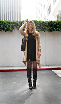 leopard tights+leather boots+sweater dress+blonde hair - image gratuit #314473