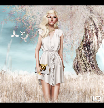 ISON - ruffle dress - (cream) for C88 and ISON Har - Ruby for Hair Fair 2013 - Free image #315663