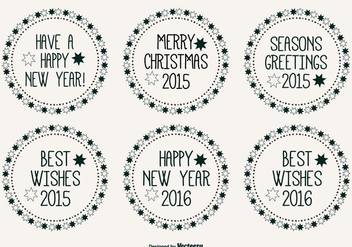 Cute Hand Drawn Style Christmas Label Set - vector gratuit #317473