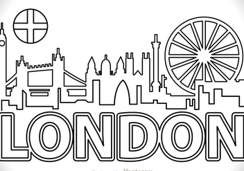 London City SCape Outline Vector - Kostenloses vector #317543