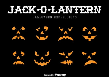 Jack-o-lantern expressions - Free vector #317593